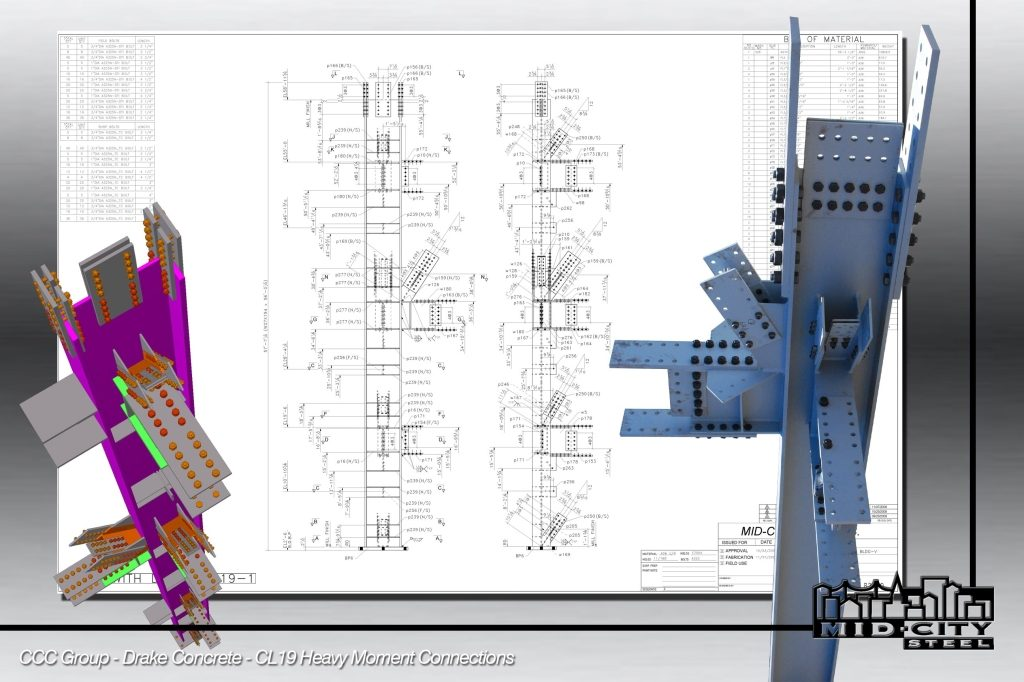 Mid City Steel sample image showing 3d Tekla Drawing.