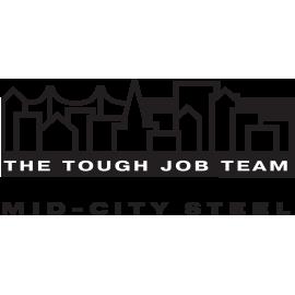 Image of Mid-City Steel, La Crosse WI logo. Steel Fabrication by The Tough Job Team.